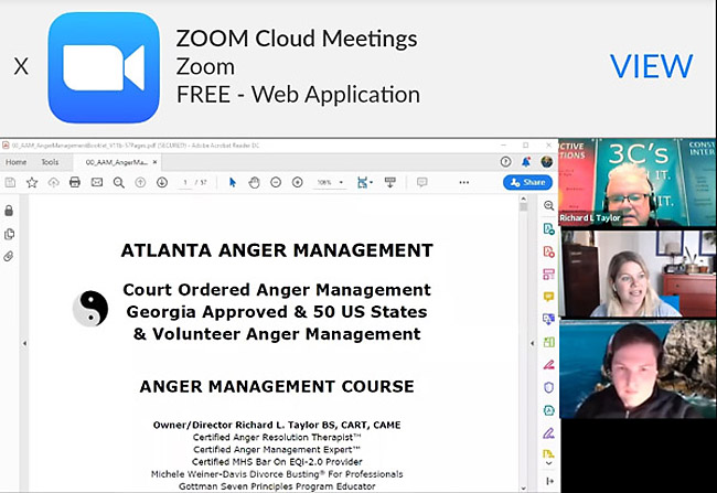 Zoom Live Video Conference Anger Management Class