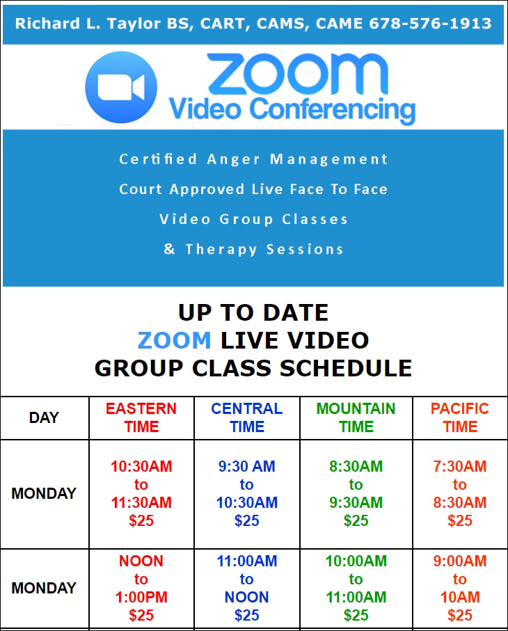 ZOOM CLASS SCHEDULE ALL U.S. TIME ZONES